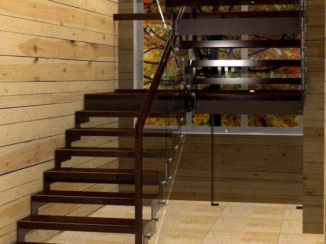 Лестница на металлическом каркасе ДМС-1 1