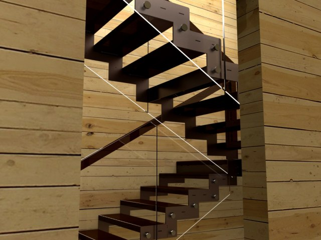 Лестница на металлическом каркасе ДМС-1 4