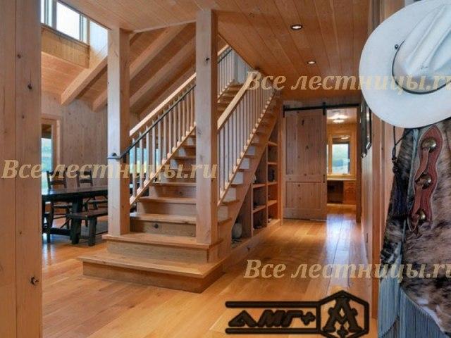 Деревянная лестница D-18 1