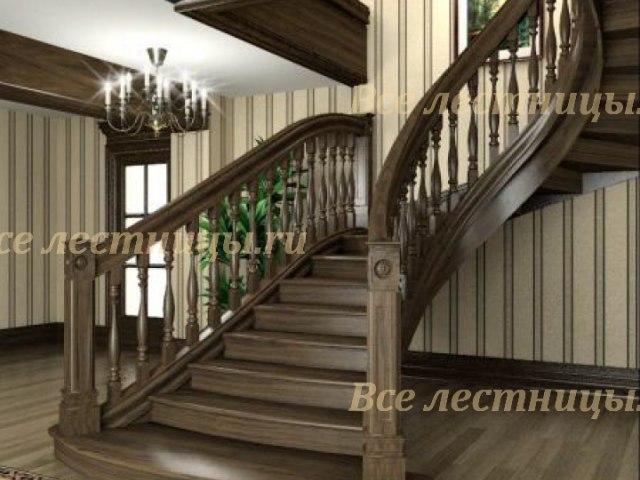 Деревянная лестница D-33 1