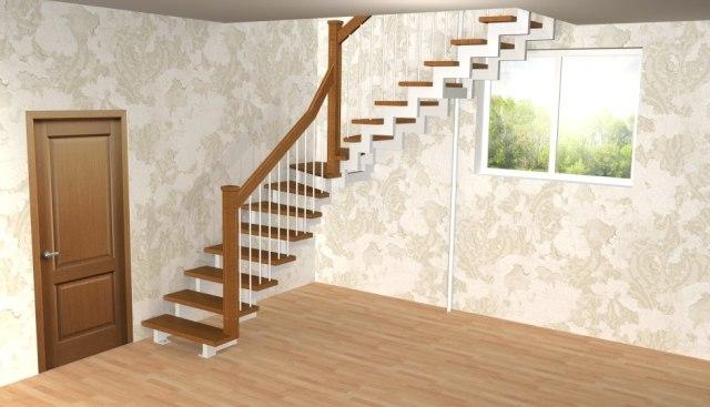 Лестница на металлическом каркасе ДМ-1 1
