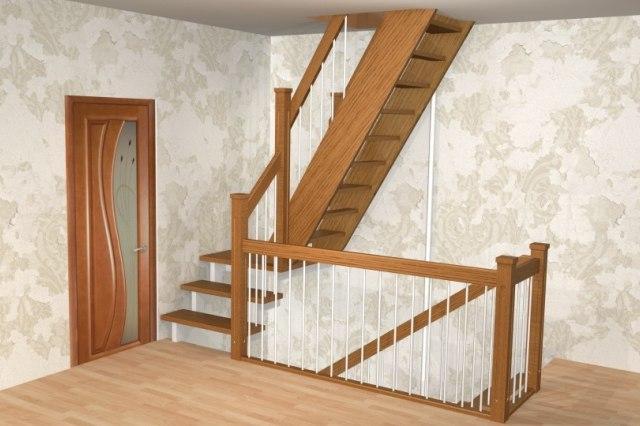 Лестница на металлическом каркасе ДМ-1 3