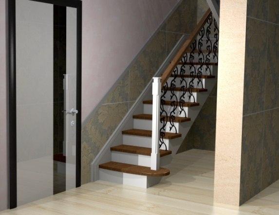 Лестница на металлическом каркасе ДМ-3 1