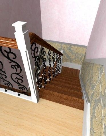 Лестница на металлическом каркасе ДМ-3 3