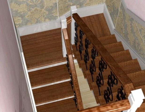 Лестница на металлическом каркасе ДМ-3 4