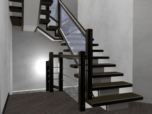 Лестница на металлическом каркасе ДМС-2 1